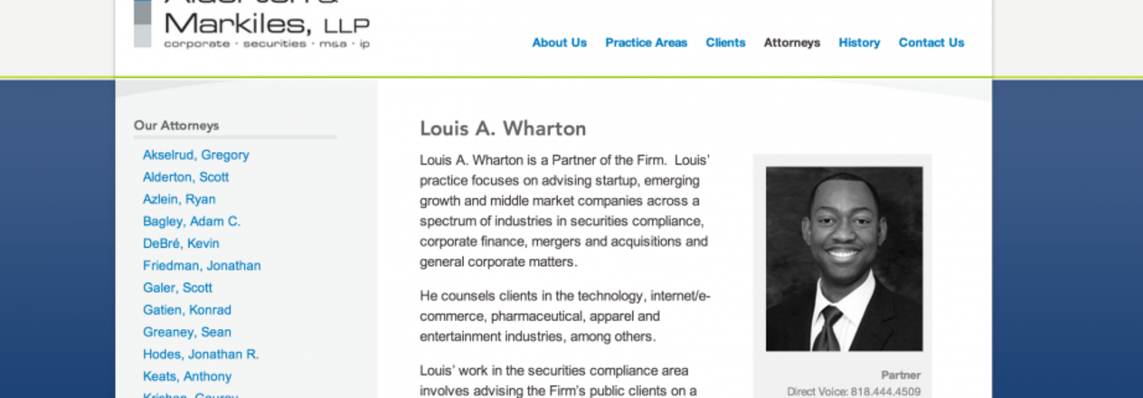 Louis A. Wharton, partner at Stubbs Alderton & Markiles, LLC